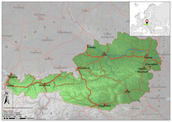 Austria road relief map