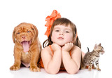 girl with pets - dog and cat. isolated on white background