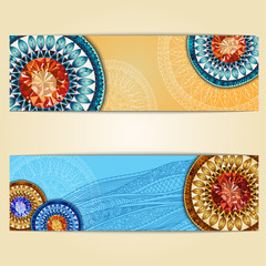 Abstract  hand drawn ethnic pattern card set