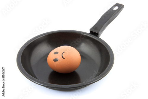 egg with sad face drawn on it in frying pan