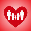 Red heart and family