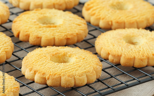 Butter cookies or Italian Canestrelli biscuits on a cooling rack