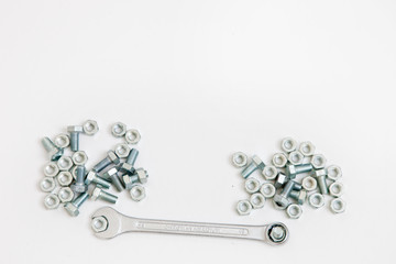 Steel spanners, bolts and nuts in a DIY