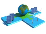 Alternative Energy, solar cell, earth, wind turbine