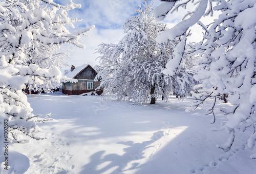 Leinwandbild Motiv Winter fairytale, heavy snowfall covered the trees and houses in