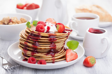 pancakes with berry and jam