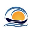 Vector design of boat beach logo