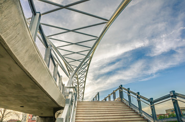 Flight of Stairs to a Modern Pedestrian Bridge