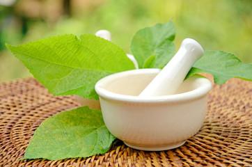 Porcelain herbal medicine grinder.