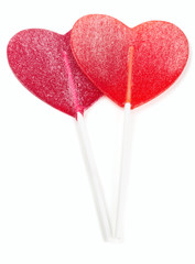 two heart-shaped lollipop of valentines day isolated on white ba