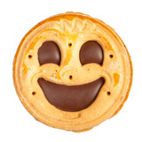 Round cookie with smile isolated