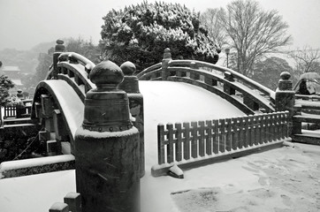 Japanese Bridge with Snow