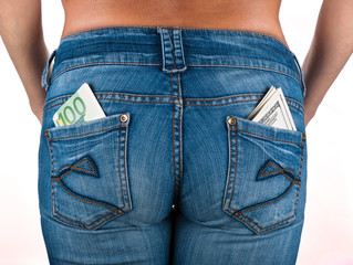 U.S. dollars and EURO in the back jeans pocket