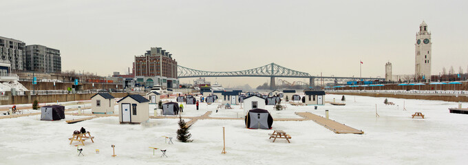 Ice fishing on Saint-Lawrence river