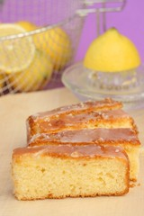 Delicious lemon pound cake with frosting