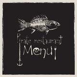 banner for pirate restaurant with a skeleton fish