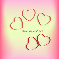 Hearts on a pink and yellow background on Valentine's Day
