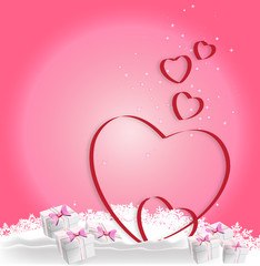 Heart, gifts on a winter background