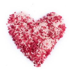 Sea salt for spa in heart shape