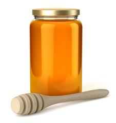 Pot de miel sur fond blanc 3