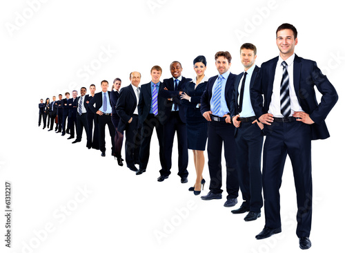 Business group in a row isolated over a white background