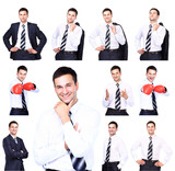 Collection of portraits of businessman