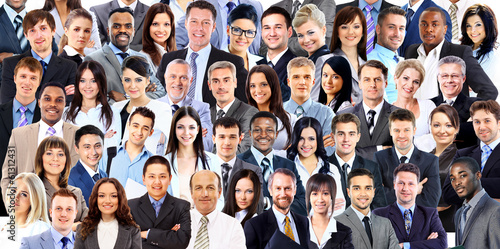 Collage of a group of business people portrait smiling