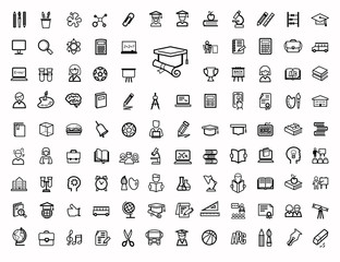 vector black education icons set