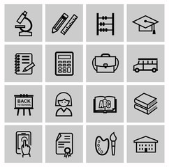 vector black higher education icons