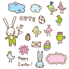 Easter design elements, cute hand drawn sketches