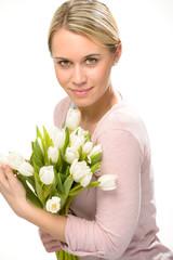 Romantic woman hold bouquet white tulip flowers