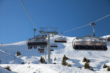The chairlift on mountain ski resort, Kitzbuhel, Austria