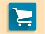 Vector Flat long shadow icon of shopping chart