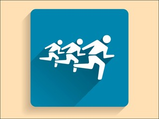 Vector Flat long shadow icon of running mans
