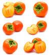 Orange ripe persimmon isolated on a white