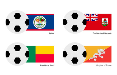 Soccer Ball with Belize, Bermuda, Benin and Bhutan Flag