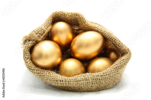 Golden egg in canvas sack