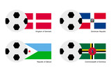 Soccer Ball with Denmark, Dominican, Djibouti and Dominica Flag