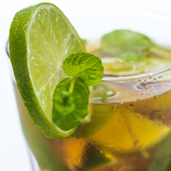 Fresh ice tea with lime