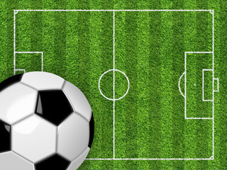 Soccer field and soccer ball . Vector background