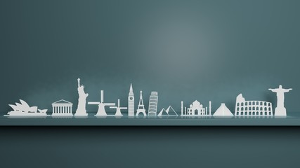 Worlds most famous landmarks figures on wall shelf