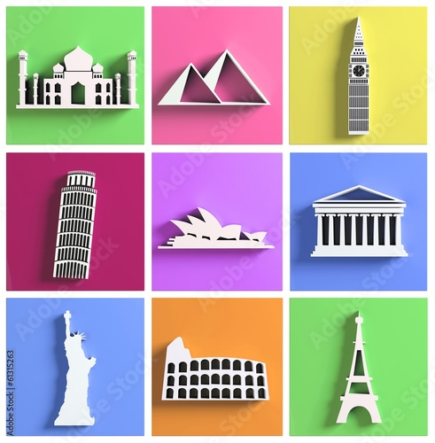 Colorful collection of worlds most famous landmarks