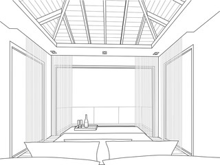 sketch design of interior bedroom - Vector illustration