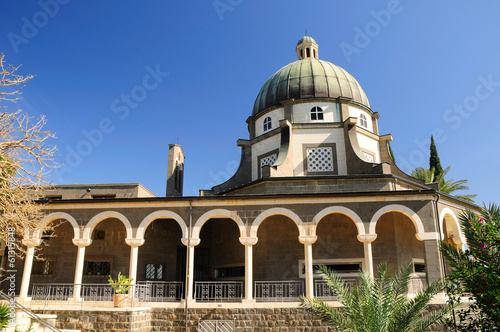 Church of beatitudes on the mount of beatitudes. Israel.