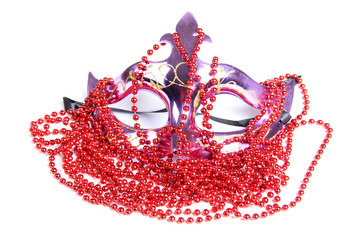 Mask and red beads