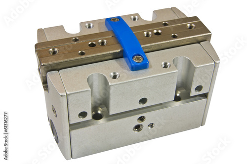Pneumatic cylinder, machine part, on white background isolate
