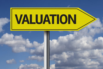 Valuation creative sign with clouds as the background
