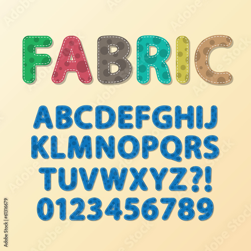 Abstract Rounded Fabric Font and Numbers, Eps 10 Vector, Editabl