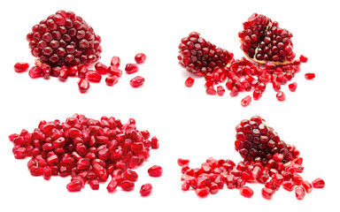 Collage of ripe pomegranate fruit seeds isolated on a white