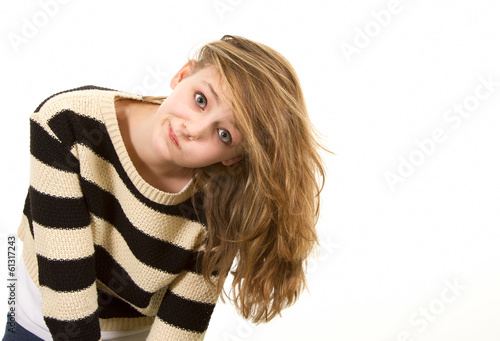 Young teen girl leaning sideways